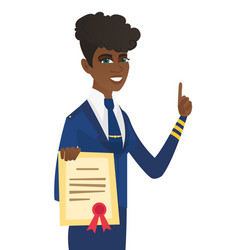Young african stewardess holding a certificate vector