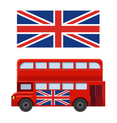double decker bus with flag of great britain vector image