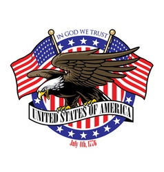 eagle grip the USA ribbon sign with the flag vector image vector image
