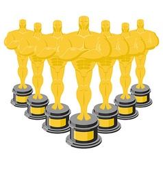 Golden statuette Many gold figures Golden statue vector image
