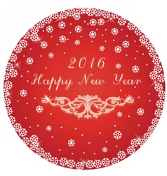 Happy New Year round circle card vector image