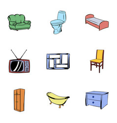 House furniture icons set cartoon style vector
