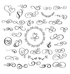set of flourish calligraphy vintage hearts and vector image vector image