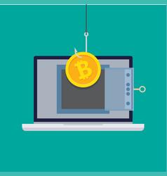theft bitcoins or virtual money vector image