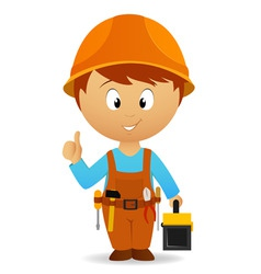 cartoon handyman with tools belt and toolbox vector image vector image