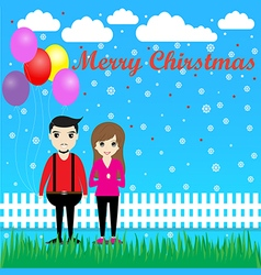 Couple with balloons in Christmas vector image