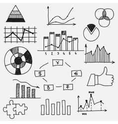 Hand drawn doodle business sketches finance vector image