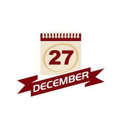 27 december calendar with ribbon vector
