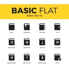 Basic set of book icons vector image vector image