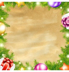 Christmas Retro Background With Xmas Fir Tree vector image vector image
