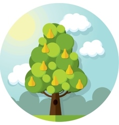 Round pattern pear tree in the clouds and vector image vector image