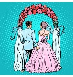 Wedding groom bride altar vector
