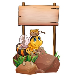 A bee above the rock near the empty signage vector image