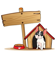 A dog and the empty signboard vector image vector image
