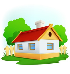 cartoon rural house with among trees and fence vector image vector image