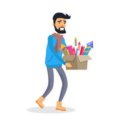 man in sportswear carries carton box of fireworks vector image vector image
