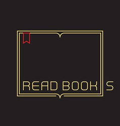 Outline open book with bookmark Border with vector image