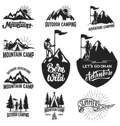 set of mountain camping outdoor adventure vector image