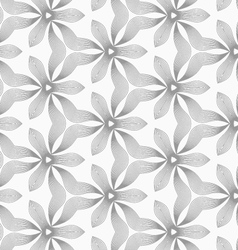 Slim gray hatched small trefoils and wavy vector image vector image