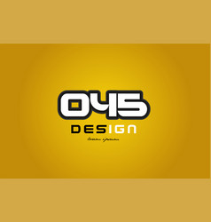 045 number numeral digit white on yellow vector