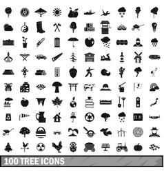 100 tree icons set simple style vector