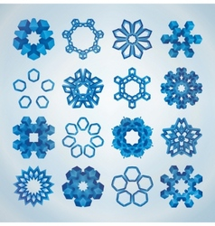 3d christmas snowflakes vector image