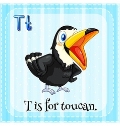 Alphabet T is for toucan vector image