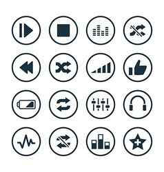 audio icons universal set vector image
