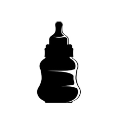 Black silhouette biberon baby with pacifier vector