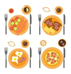 Breakfast icons flat set with four options of food vector image