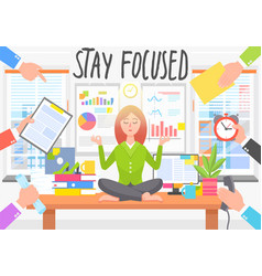 Businesswoman stay focused keep calm in stressful vector