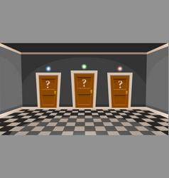 Cartoon choose a door concept empty room vector