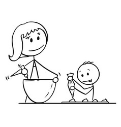 Cartoon of mother and son cooking or baking vector