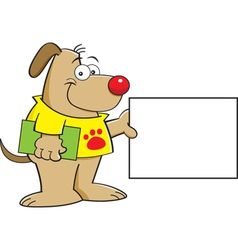 Cartoon Puppy with a Sign vector image