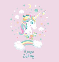 Cartoon trendy unicorn with rainbow poster vector