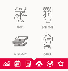 Cash money cheque and profit icons vector