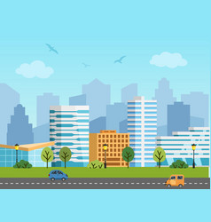 City urban landscape buildings and vector