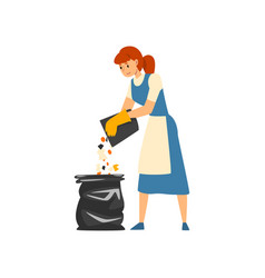 cleaning woman collecting and throwing garbage vector image