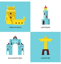 Collection of portugal icons in flat style vector