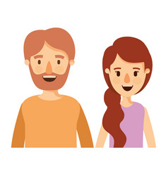colorful caricature half body couple woman with vector image