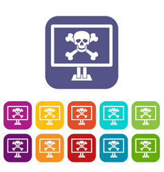 computer monitor with a skull and bones icons set vector image