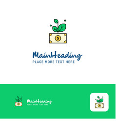 creative money plant logo design flat color logo vector image