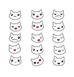 Cute cat emotions set vector image