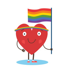 cute single heart manifest with rainbow flag for vector image
