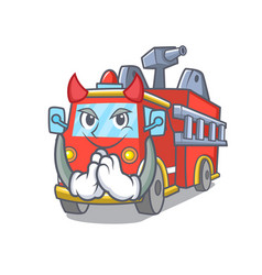 Devil fire truck mascot cartoon vector