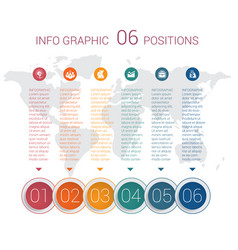 diagram info graphics template 6 positions vector image