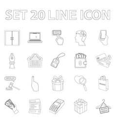 E-commerce purchase and sale outline icons in set vector
