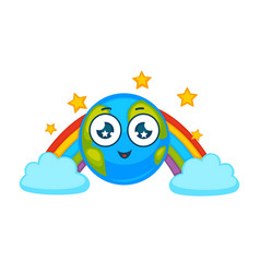 Earth planet cartoon character icon smiling vector