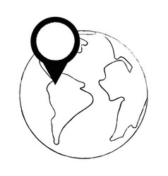 earth planet with pointer location vector image