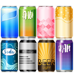 Eight aluminum cans with different designs vector